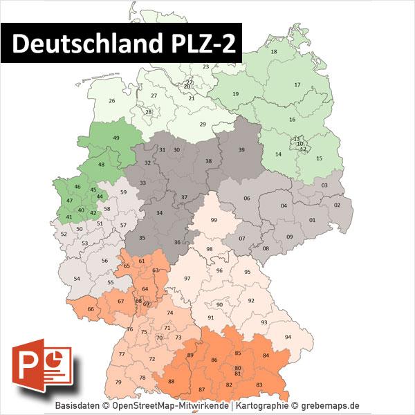 PowerPoint-Karte Deutschland Postleitzahlen PLZ-2 mit Bitmap-Karten