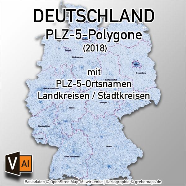 Deutschland Postleitzahlen PLZ-5 Vektorkarte 5-stellig (2018) Landkreise Ortsnamen