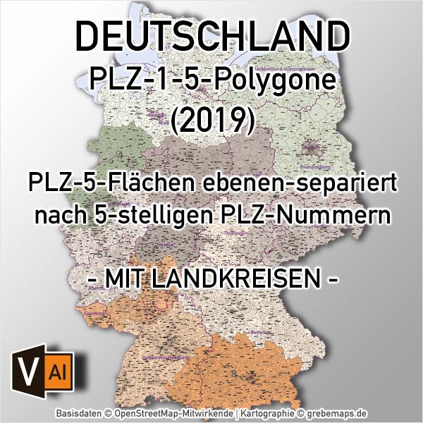Deutschland Postleitzahlenkarte PLZ-1-5 ebenen-separiert mit Landkreisen Bundesländern Ortsnamen Vektorkarte (2019)