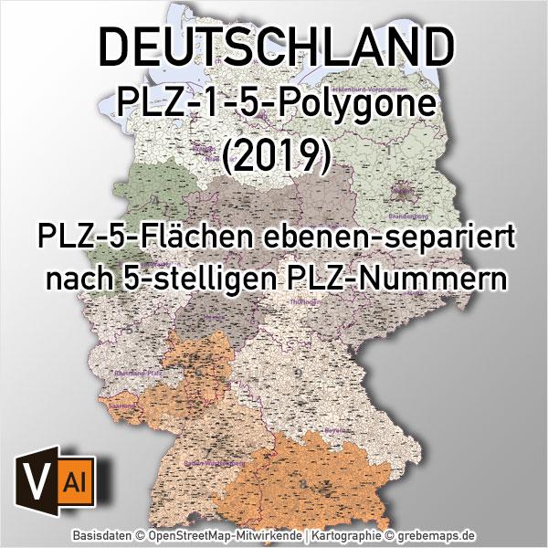 Postleitzahlen-Karte Deutschland PLZ-5 ebenen-separiert mit Bundesländern und PLZ-1 Vektorkarte (2019)