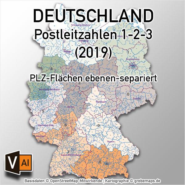 Deutschland Postleizahlenkarte PLZ-1-2-3 ebenen-separiert mit Bundesländern Vektorkarte (2019)