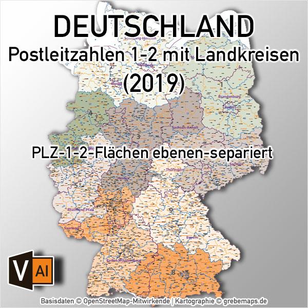 Deutschland Postleizahlenkarte PLZ-1-2 mit Landkreisen Bundesländern Orte Vektorkarte (2019)