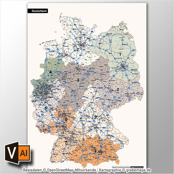 Deutschland Postleitzahlenkarte PLZ-1-2-3 Vektorkarte 3-stellig, Autobahnen (2017)