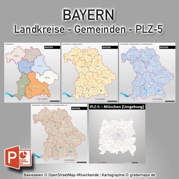 PowerPoint-Karte Bayern Landkreise Gemeinden Postleitzahlen PLZ-5