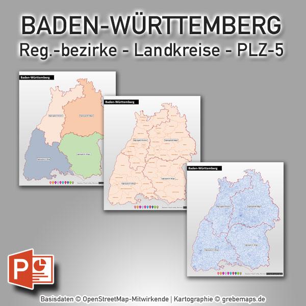 PowerPoint-Karte Baden-Württemberg Landkreise Postleitzahlen PLZ-5 (5-stellig)