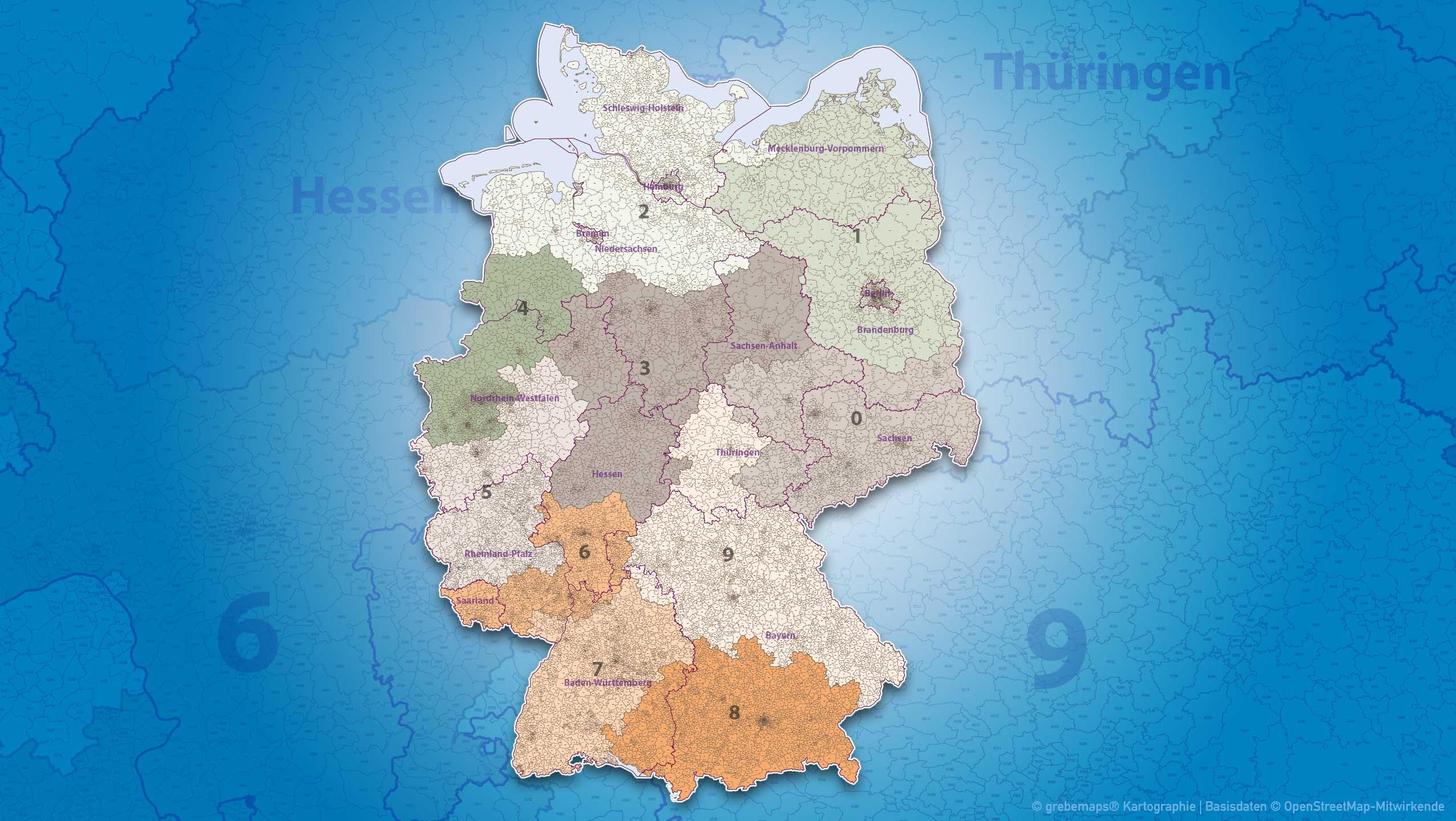 Postleitzahlen Karte Brandenburg.Postleitzahlen Karte Deutschland Grebemaps Kartographie
