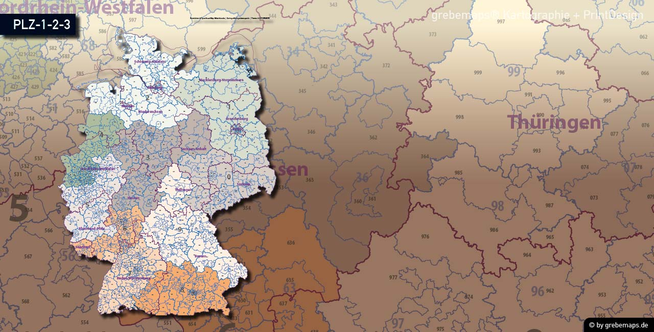 Postleitzahlen-Karte Deutschland PLZ-1-2-3, PLZ-Karte 2-stellig, PLZ-Karte 3-stellig