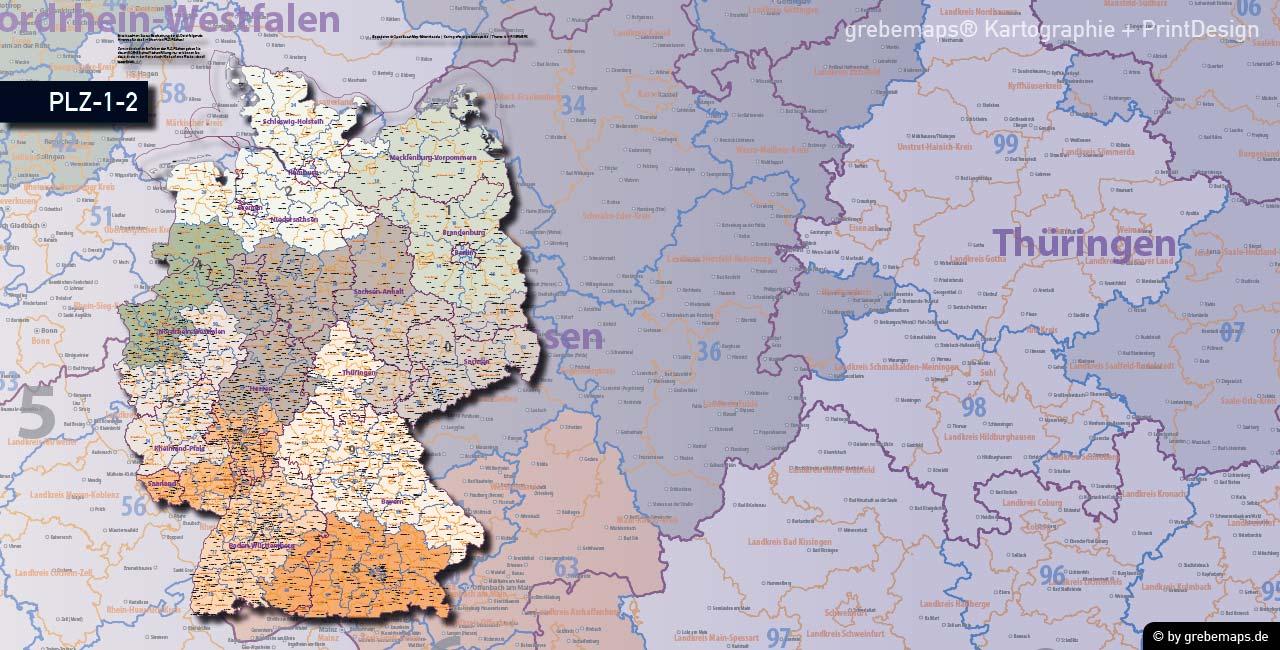 Postleitzahlen-Karte Deutschland PLZ-1-2, PLZ-Karte 2-stellig, PLZ-Karte Vektor