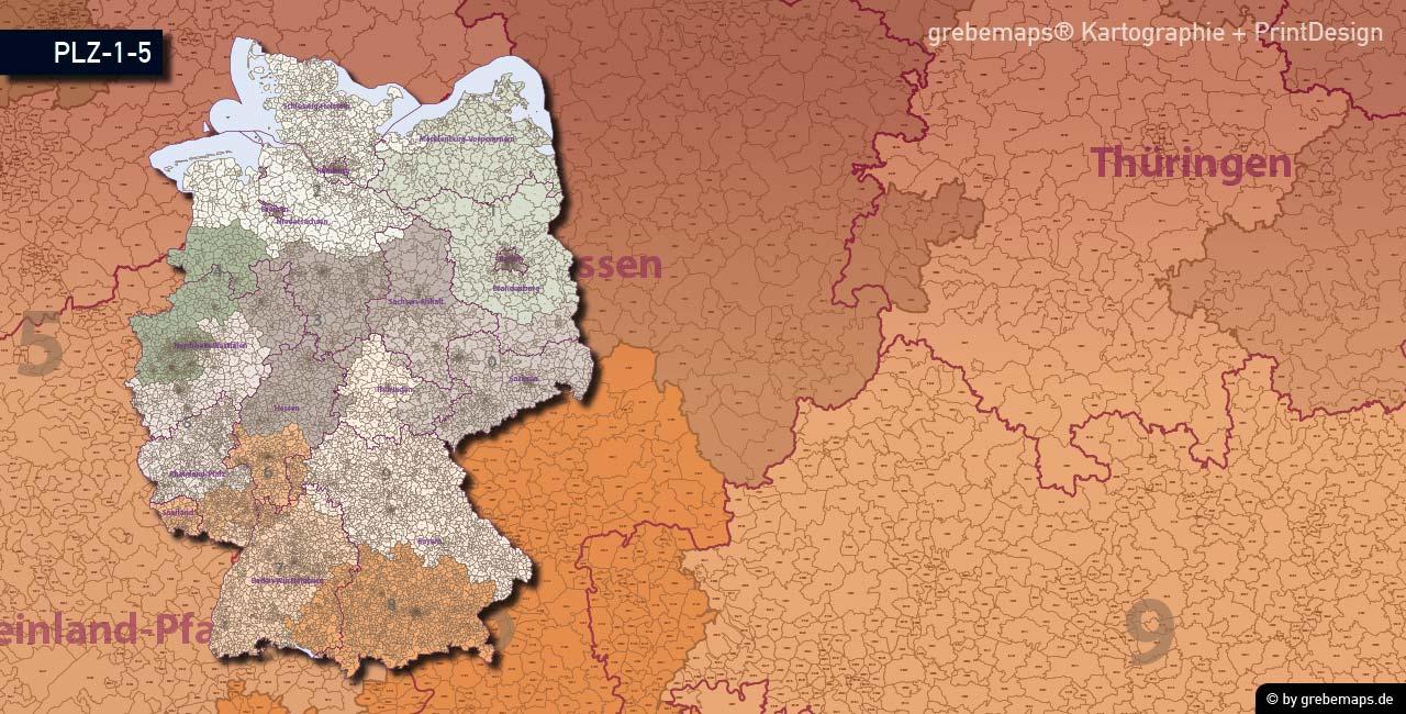 Postleitzahlen-Karte Deutschland PLZ-5, PLZ-Karte 5-stellig, PLZ-Karte Vektor