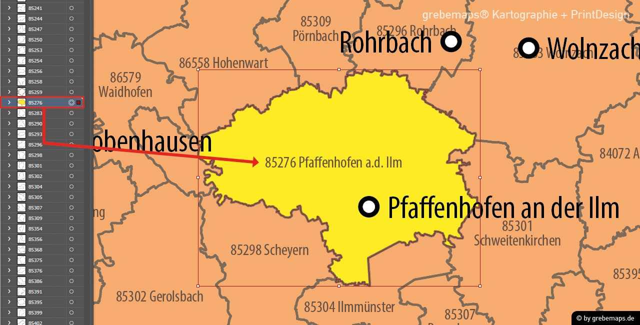 PLZ-Karte Deutschland 5-stellig, Postleitzahlenkarte Deutschland 5-stellig für Illustrator download AI-Datei editierbar