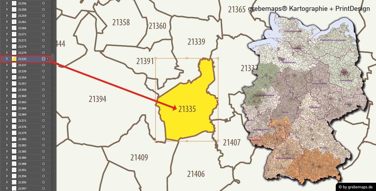 Plz Karte Deutschland 5 Stellig Vektorkarte Ebenen Separiert 2019