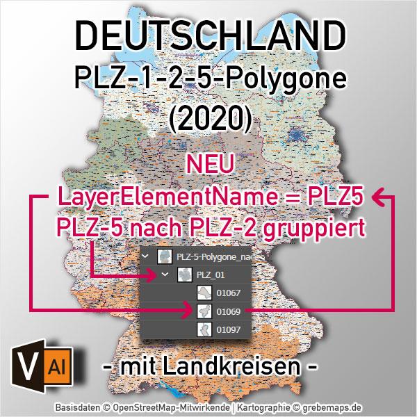 Deutschland Postleitzahlenkarte PLZ-1-2-5 mit Landkreisen Bundesländern Ortsnamen Vektorkarte (2020)