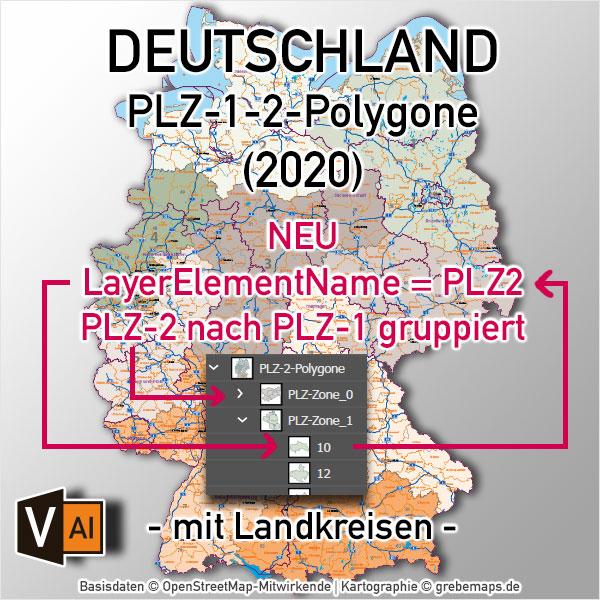 Deutschland Postleitzahlenkarte PLZ-1-2 mit Landkreisen Bundesländern Autobahnen Orte Vektorkarte (2020)