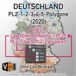 PLZ-Karte Deutschland, Postleitzahlen-Karte Deutschland PLZ-5-4-3-2-1 Für Illustrator, Editierbar, Ebenen-separiert, Lizenzfrei, Download, Bearbeitbar, AI-Datei