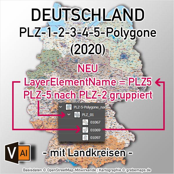 Deutschland Postleitzahlenkarte PLZ-1-2-3-4-5 Vektorkarte Mit Landkreisen Bundesländern Ortsnamen Autobahnen (2020)