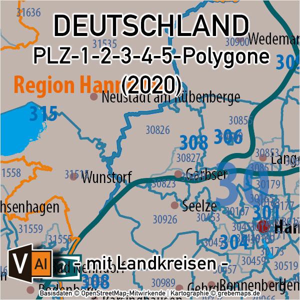 Deutschland Postleitzahlenkarte PLZ-1-2-3-4-5 Vektorkarte mit Landkreisen, PLZ-Karte Deutschland, Karte PLZ Deutschland, Vektorkarte PLZ Deutschland, AI, Illustrator, download